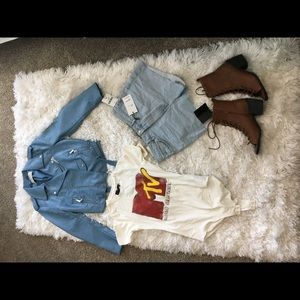 Blue Zara Leather jacket